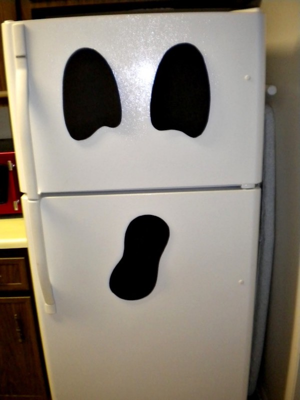Use foam or felt to make a ghost face and add magnets on the back. Know anyone with a white refrigerator?