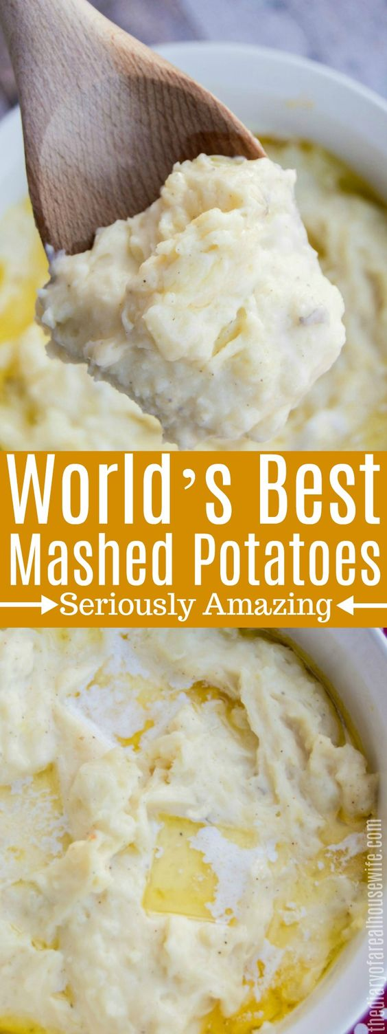 The World's Best Mashed Potatoes, the best thanksgiving side dish recipe. #thanksgiving #sidedish