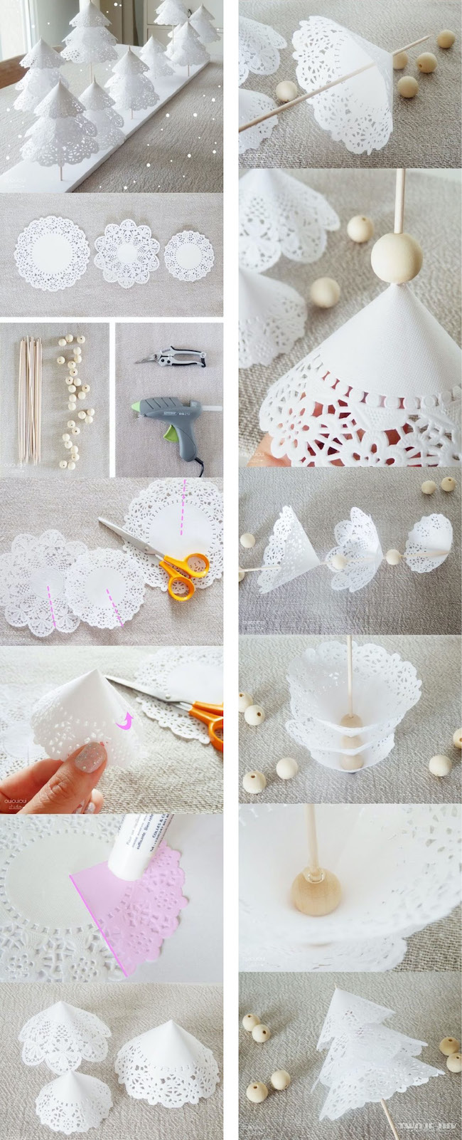 How to Make a Christmas Tree out of paper doilies