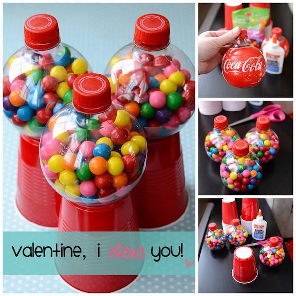 Make cute Valentine's Day gum ball gifts using soda bottles, plastic cups, and glue!