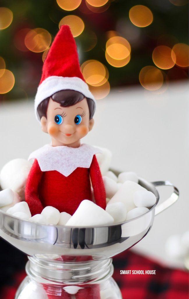 Elf on the Shelf in a Jar of Marshmallows for Christmas. #ElfOnTheShelf #ElfOnTheShelfIdea #ElfOnTheShelfIdeas #EasyElfOnTheShelfIdea