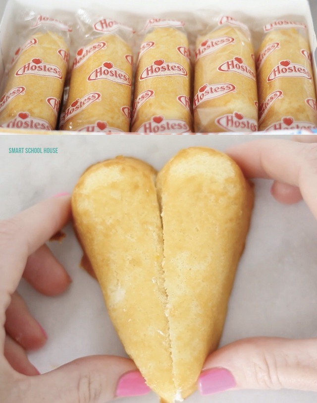 Twinkie Heart Cakes - How to make hearts using Twinkies. Must try!