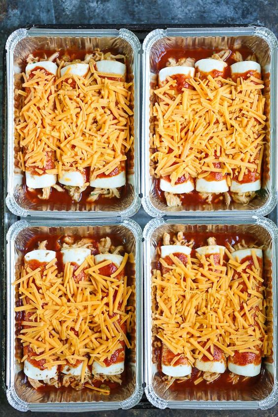Freezer Enchiladas - Simply assemble your enchiladas ahead of time and freeze. IT GOES STRAIGHT FROM FREEZER TO OVEN! No dishes required!