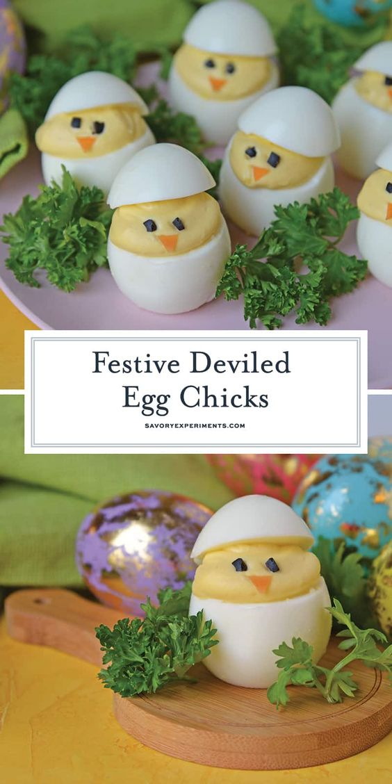 Deviled Egg Chicks - These Easter favorites are not only delicious, but these Easter chicks are just adorable! A perfect Easter centerpiece using an easy deviled egg recipe. Great for an Easter side dish or appetizer!