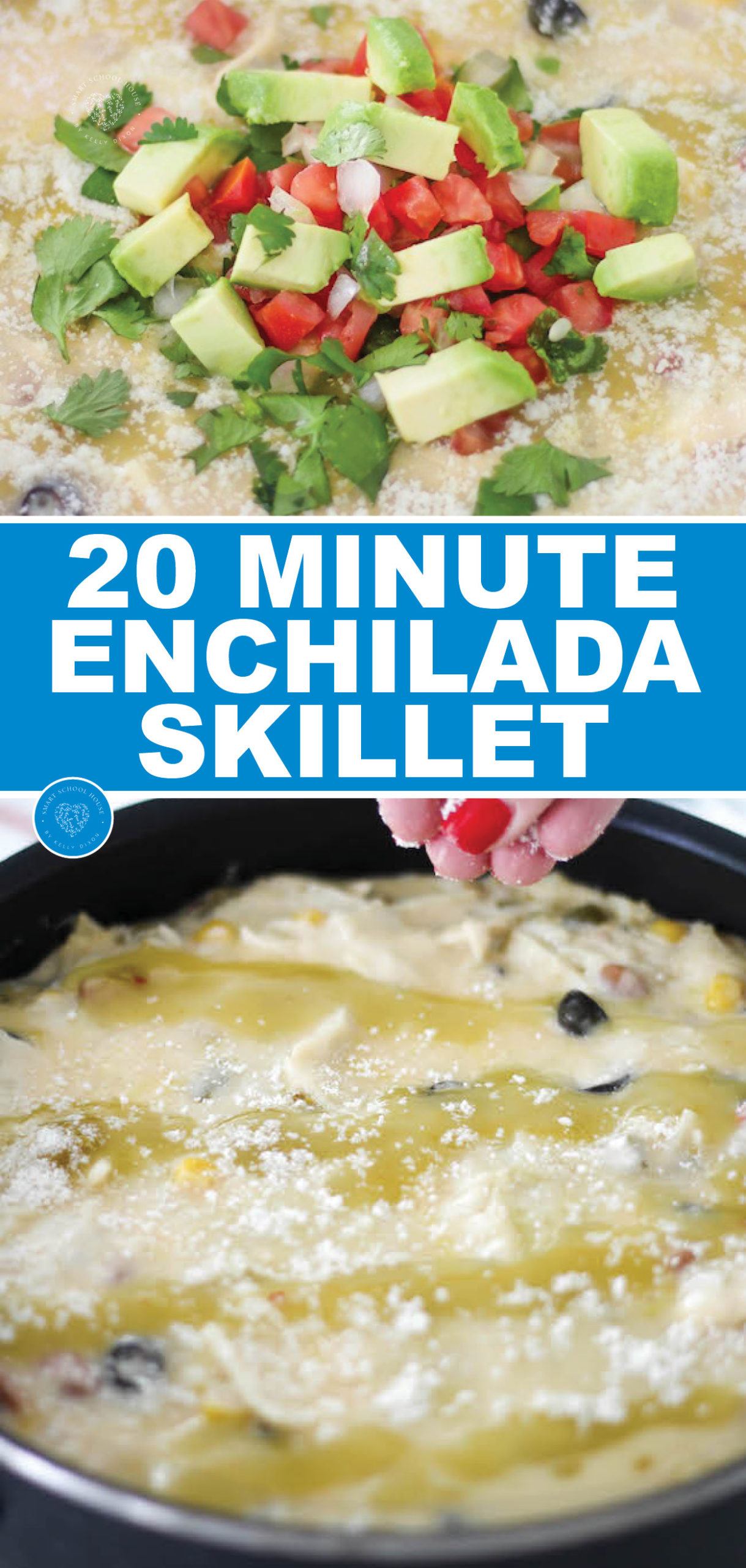 20 Creamy Chicken Enchilada Skillet Recipe. Quickly make a delicious chicken dinner in one pan! #skillet #enchiladas #enchiladarecipe #creamyenchiladas #onepandinner #quickdinner #easydinner