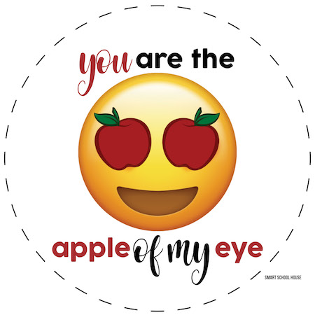 You are the APPLE OF MY EYE free Valentine printable for applesauce pouches. Emoji with apple eyes.