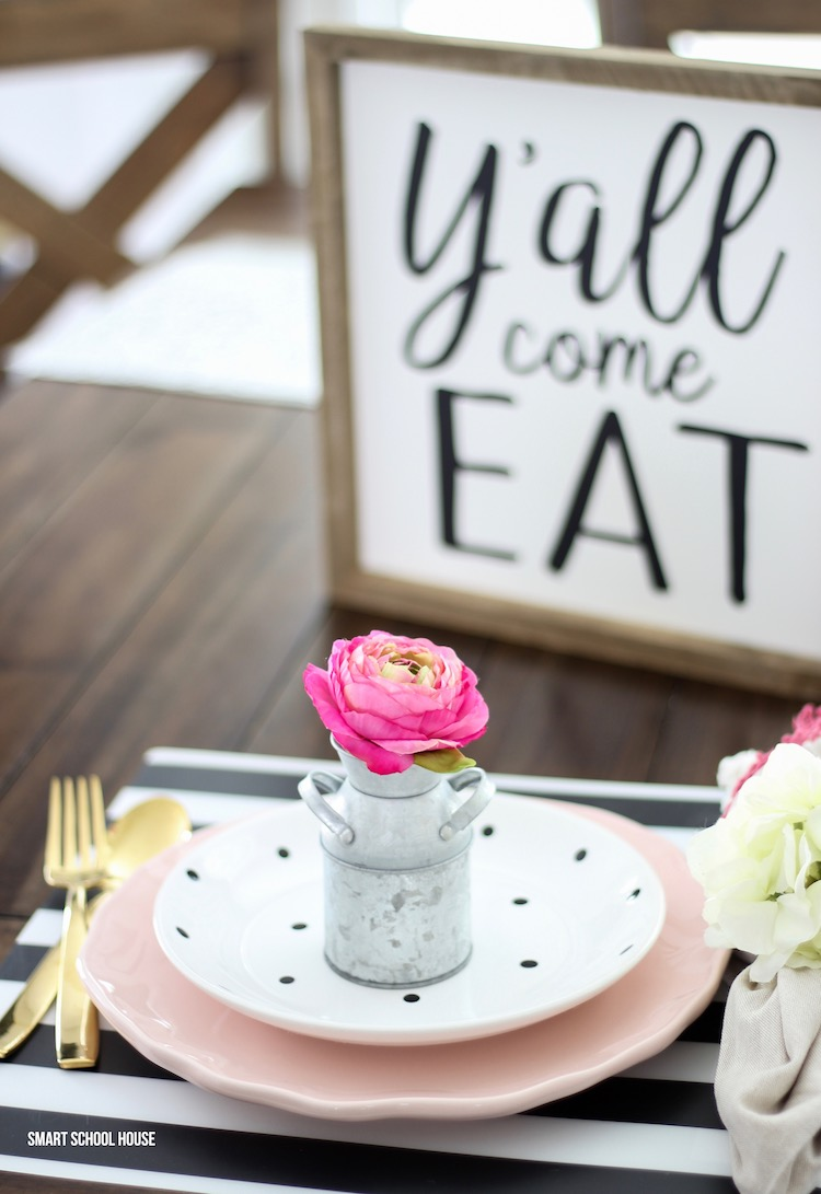 Y'all Come Eat sign with an adorable rustic place setting idea using gold utensils #farmhousedecor #farmhousekitchen #farmhouse table #yall #tablescape #hangingchairsign #homedecor #diyhome #easter #spring #brunchtable