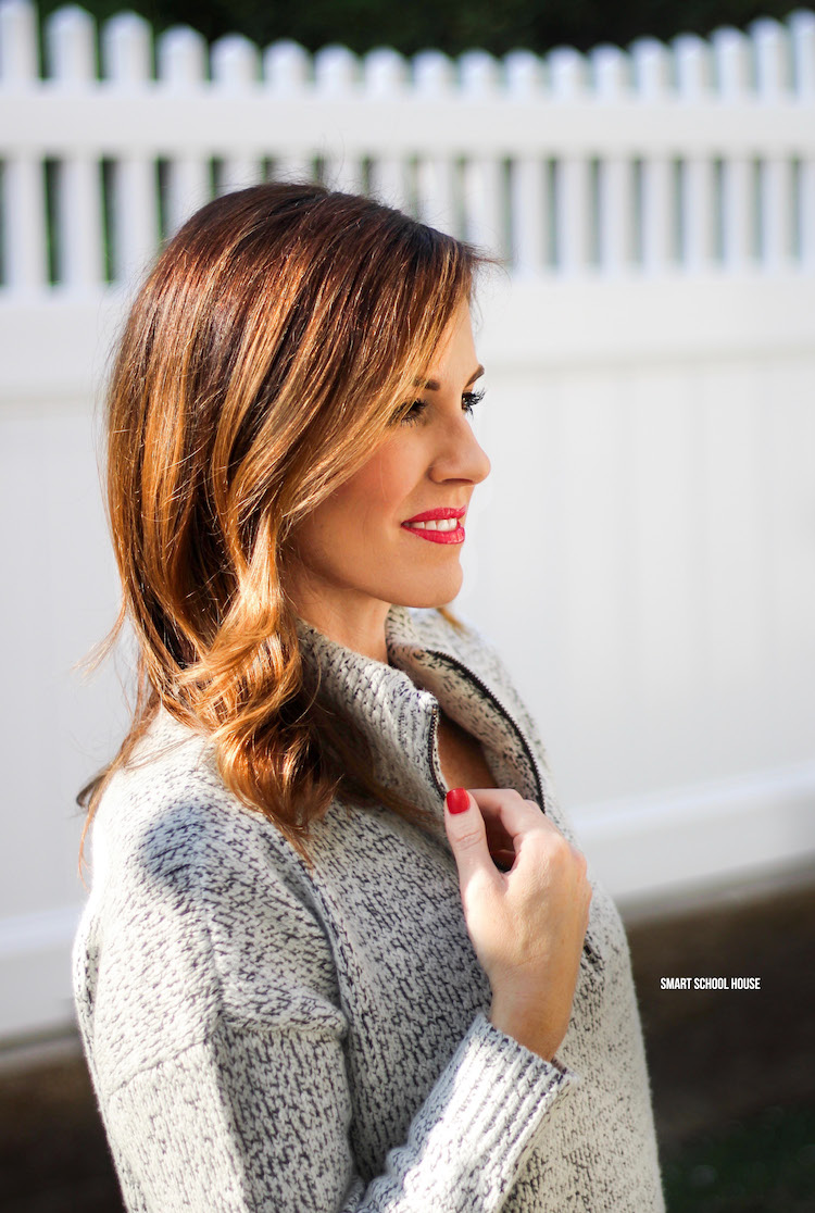 Cozy Valentine's Day - marled half-zip sweater