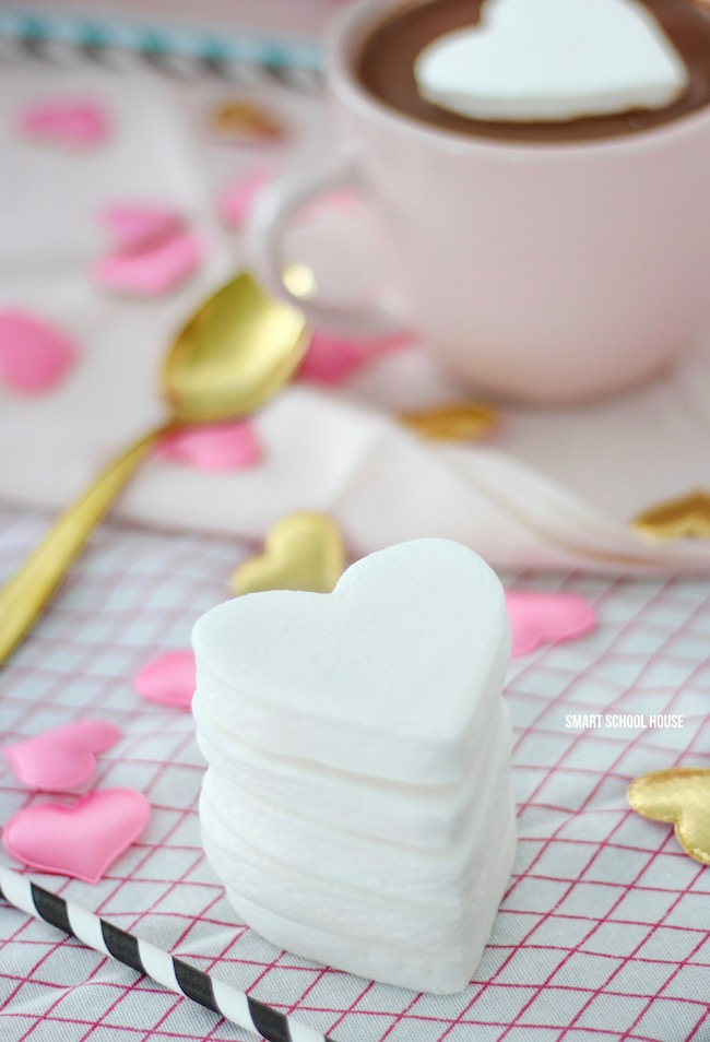 Marshmallow hearts for hot chocolate.