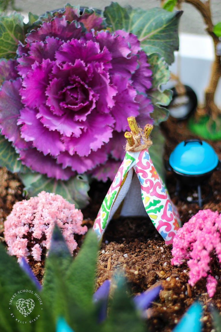 Camping Fairy Garden Idea with Kale and succulents