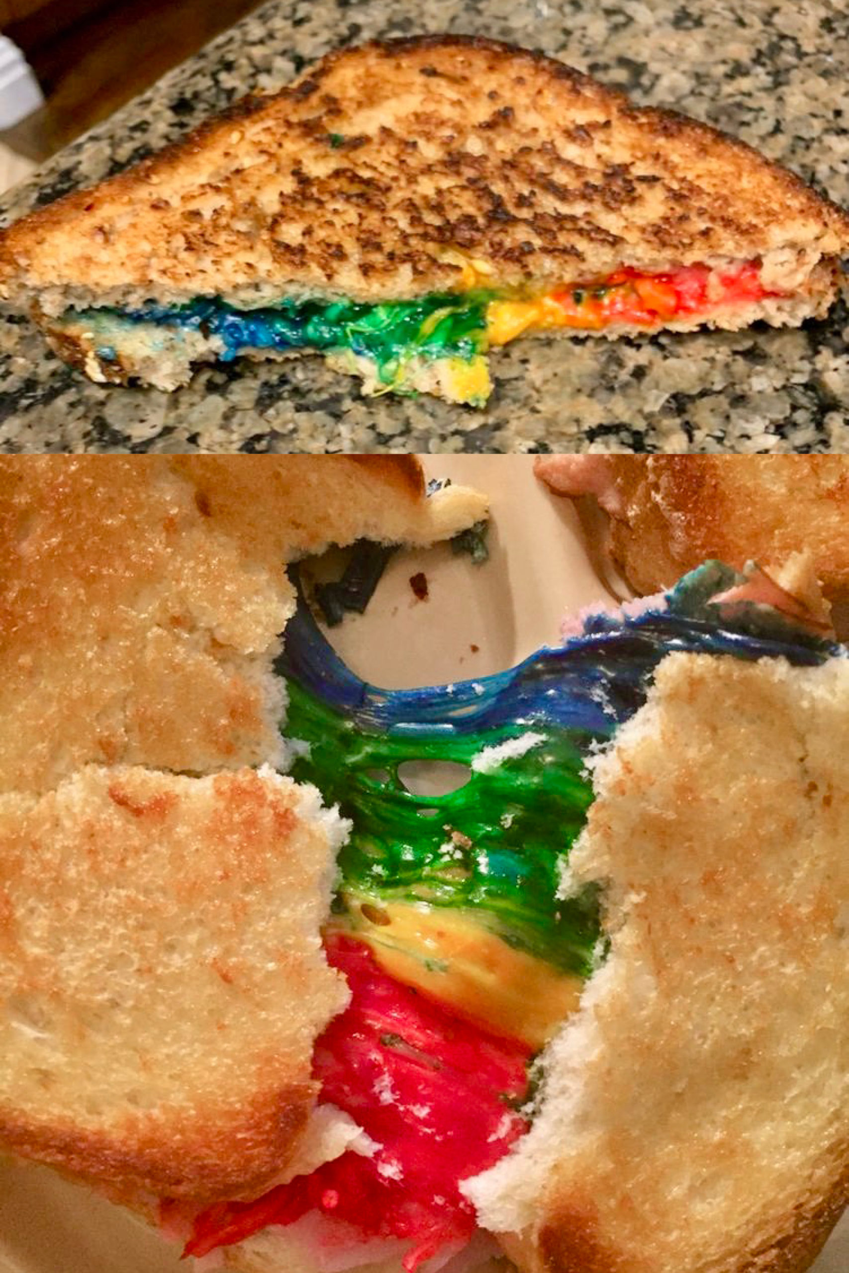 Rainbow Grilled Cheese - Learn to make your dreams come true with this magical, yet easy rainbow grilled cheese recipe.