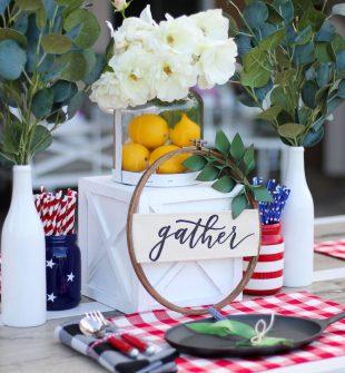 Red, White, and Blue table decorations #redwhiteandblue #centerpiece #farmhousedecor
