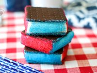 Ice Cream Sandwiches with Red, White, and Blue Sprinkles