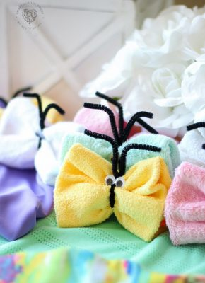 Step by step visual instructions teaching you how to make washcloth butterflies. An adorable and easy craft idea for kids too!