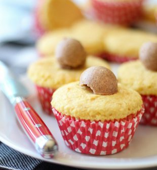 These sweet and fluffy cornbread cupcakes are made with both cake batter and cornbread mix then topped with cinnamon butter. Perfect for a summer for fall BBQ. Even on a cold winter evening, these are the coziest after-dinner treat. They go really well with any crock pot recipe your family loves.#cornbread #cupcakes