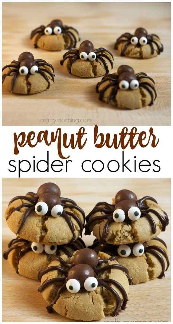 Spider Cookies - Make peanut butter spider cookies for a halloween treat! A fun halloween dessert thats easy enough for the kids to make for party.