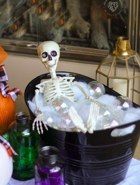 Skeleton Bubble Bath - Skeletons like bubble baths too! #SkeletonBubbleBath #HalloweenDecorations #DIYHalloween