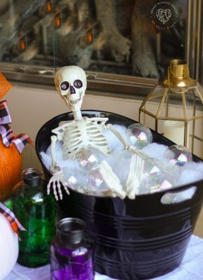 Skeleton Bubble Bath - Skeletons like bubble baths too! #SkeletonBubbleBath #HalloweenDecorations #DIYHalloween