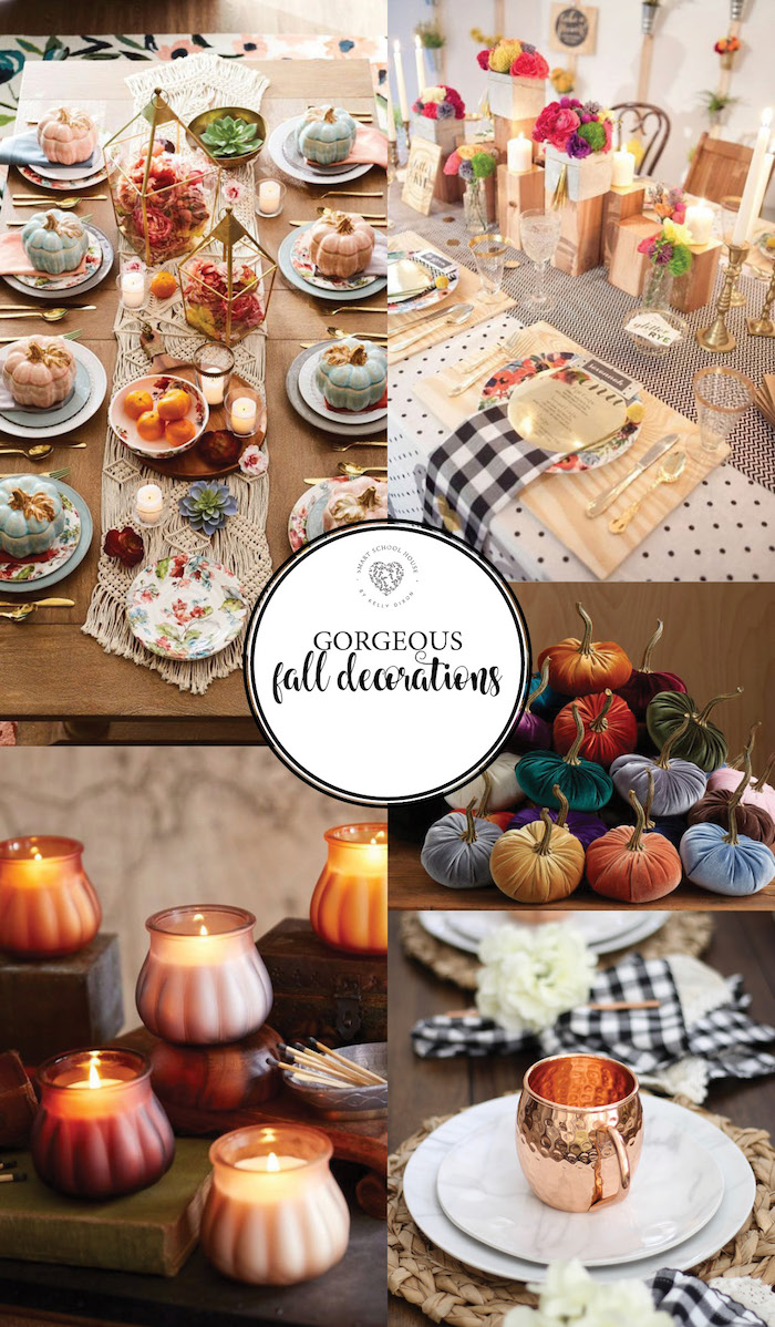 Gorgeous Fall Decorations. Bolds, golds, wood, and flowers. #falldecor #falltable #falldecorations #thanksgivingdecor