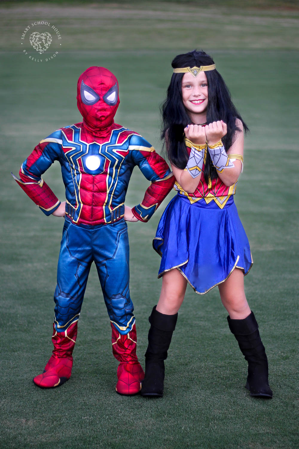 Wonder Woman and Iron Spider kids costumes for siblings