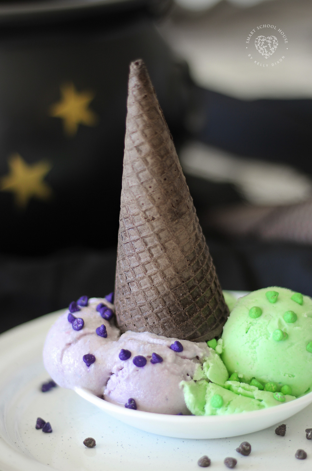 Halloween Ice Cream Made with Jello. The purple and green ice cream with the black cone reminds me of a witch! Fun and EASY dessert for Halloween. #Halloween #HalloweenFood #WitchIceCream #JelloIceCream #HalloweenDessert #Homemade