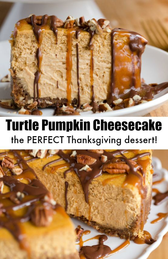 Turtle Pumpkin Cheesecake is the perfect Thanksgiving desserts - plus tips for making the perfect cheesecake! #turtlepumpkincheesecake #pumpkincheesecake #cheesecakerecipe