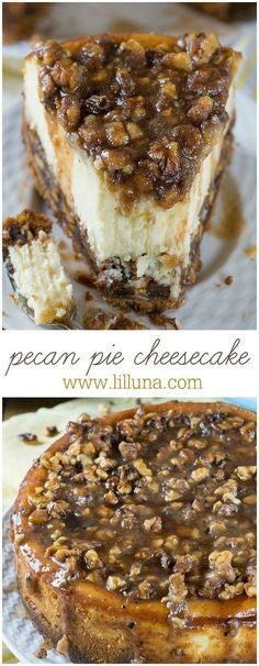If you love Pecan Pie, you'll love this Cheesecake! This cake has vanilla wafers crust, pecan pie filling, creamy cheesecake layer and buttery, caramel-pecan topping. #pecanpiecheesecake #cheesecake #pecanpie #pecan #cheesecakerecipe