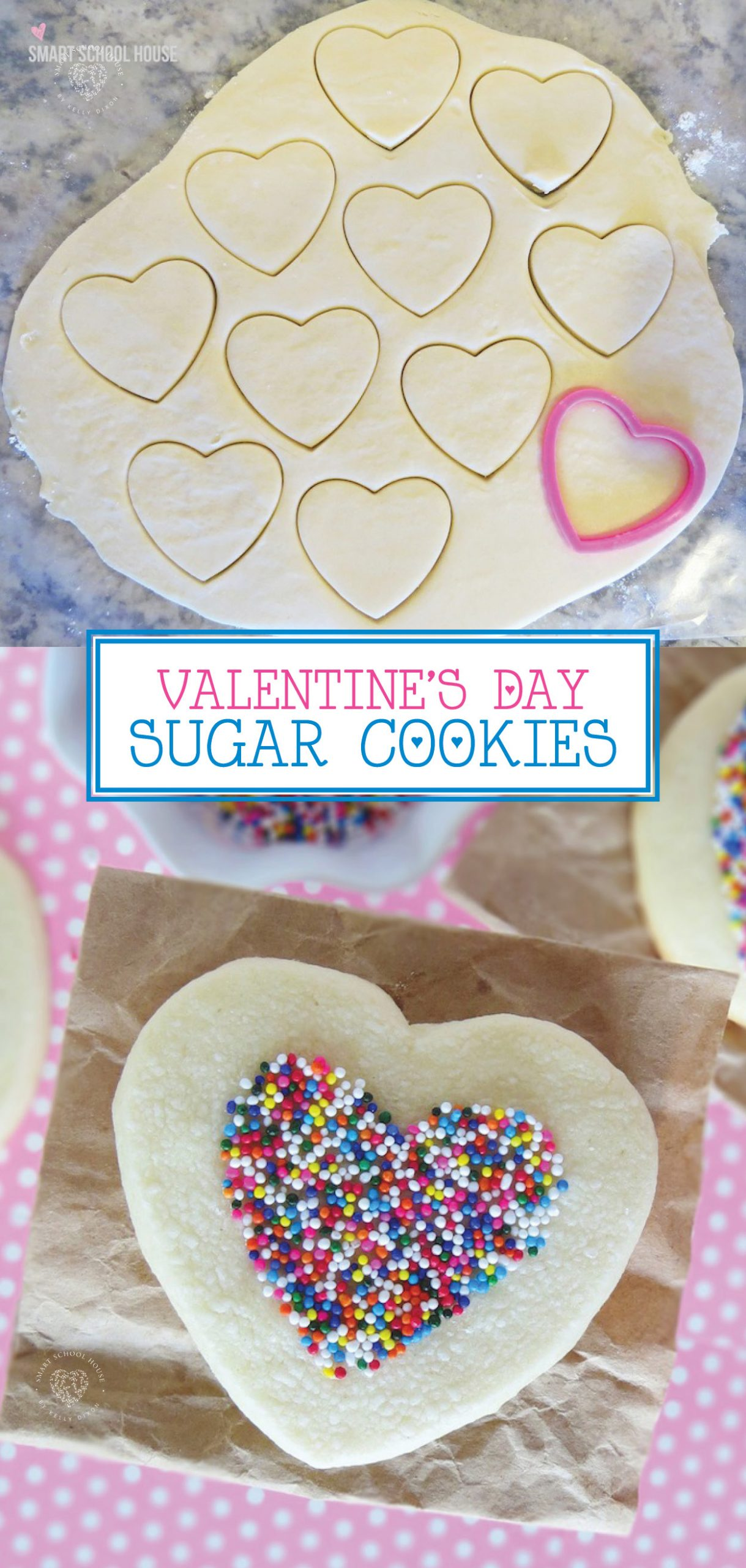 Heart Shaped Sugar Cookies - Easy sugar cookie recipe for Valentines Day