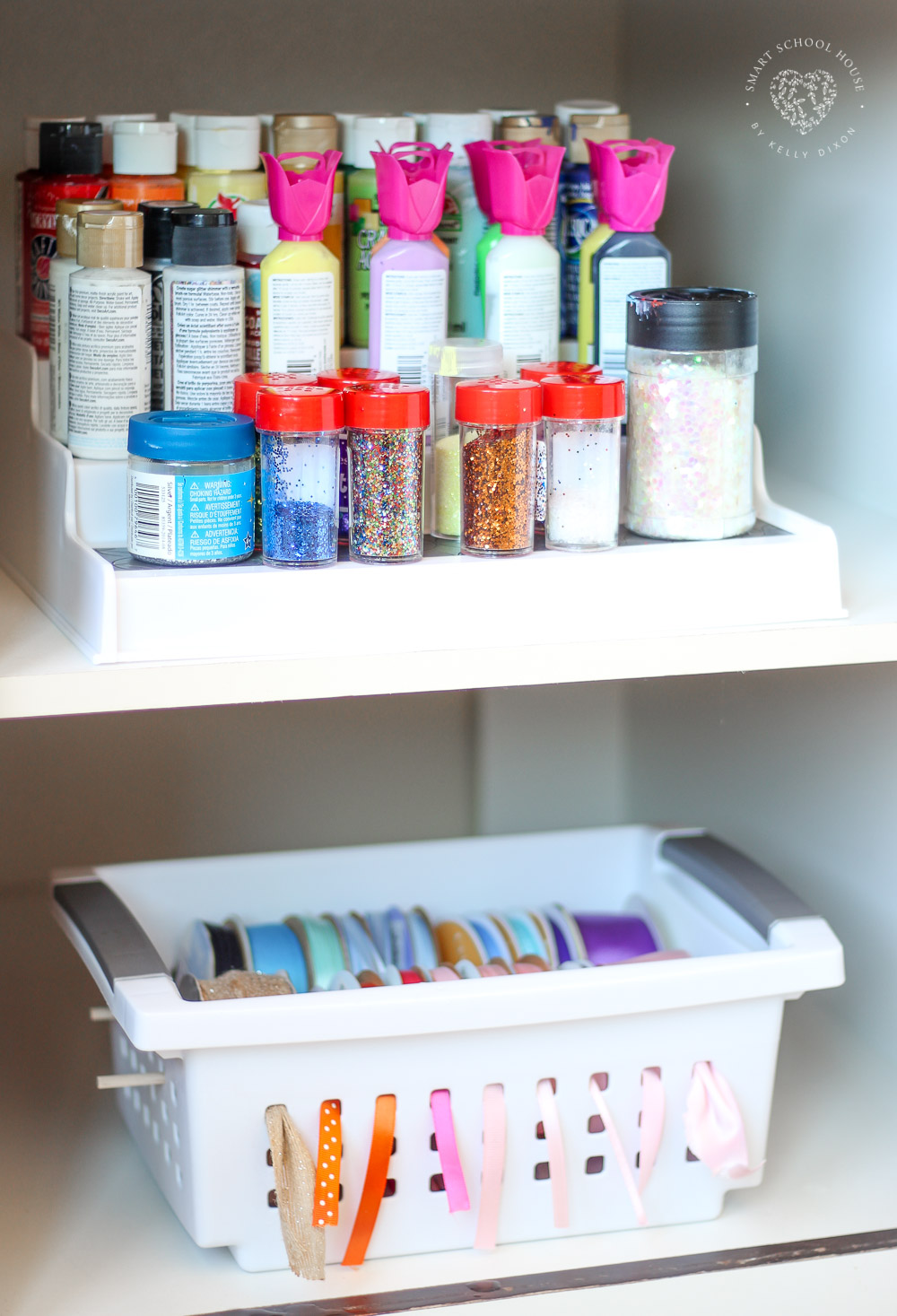 Tidy Tips and Organization - use a simple spice rack to store paint and glitter. No more messes! Everything stays neat and tidy. More must-see tips here. #CraftRoomOrganization #TidyTips #OrganizingTips