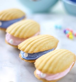 Seashell Pearl Cookies - for a beach theme party or mermaid party. Also fun for a quick and easy dessert using Madeline cookies. #UnderTheSea #MermaidParty #BeachTheme #SeashellCookies