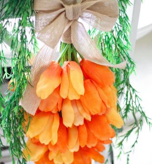 How to make a tulip carrot wreath for spring and Easter #EasterWreath #DIYEaster #SpringWreath