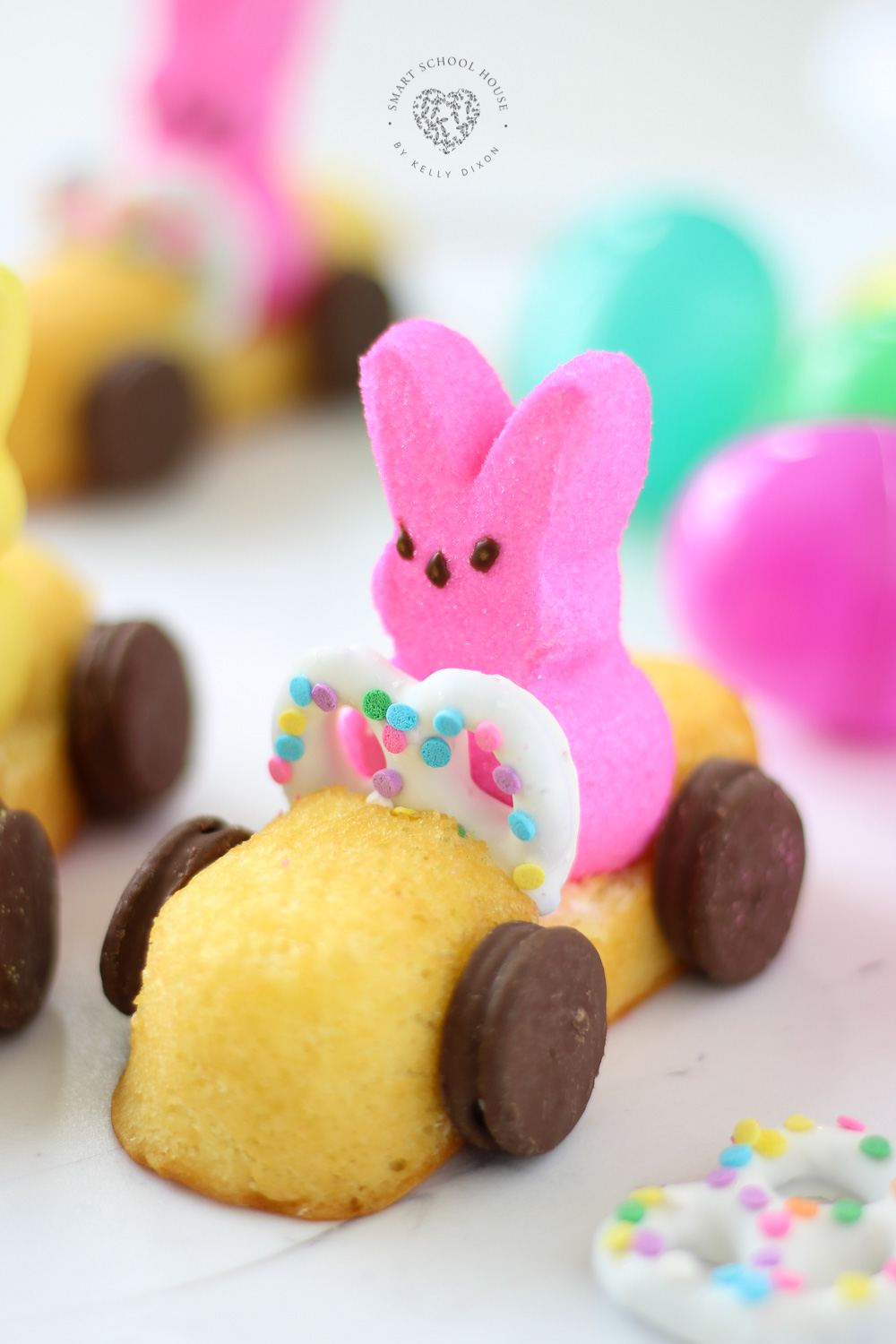 How to Make Peeps Race Cars for Easter! They were a lot of fun to make and they were very simple! #Peeps #EasterCrafts