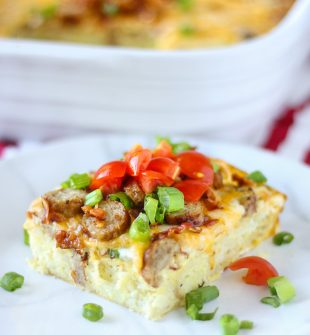 Loaded Hash Brown Breakfast Casserole made with hash brown patties! A wonderful comforting egg casserole loaded with bacon, sausage, and cheese #breakfastcasserole #hasbrowncasserole #hasbrownpattycasserole #breakfastrecipes