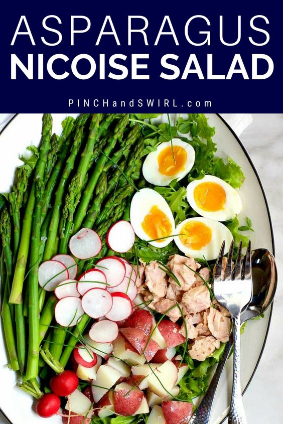 Asparagus Nicoise Salad is an easy springtime twist on the classic French Nicoise Salad. With fresh asparagus swapped in for green beans, tender new potatoes, eggs as they only are at the height of spring and a zesty dressing complete with fresh lemon juice and capers, it's a salad that I look forward to all year long. #nicoisesalad #frenchrecipes #frenchcuisine