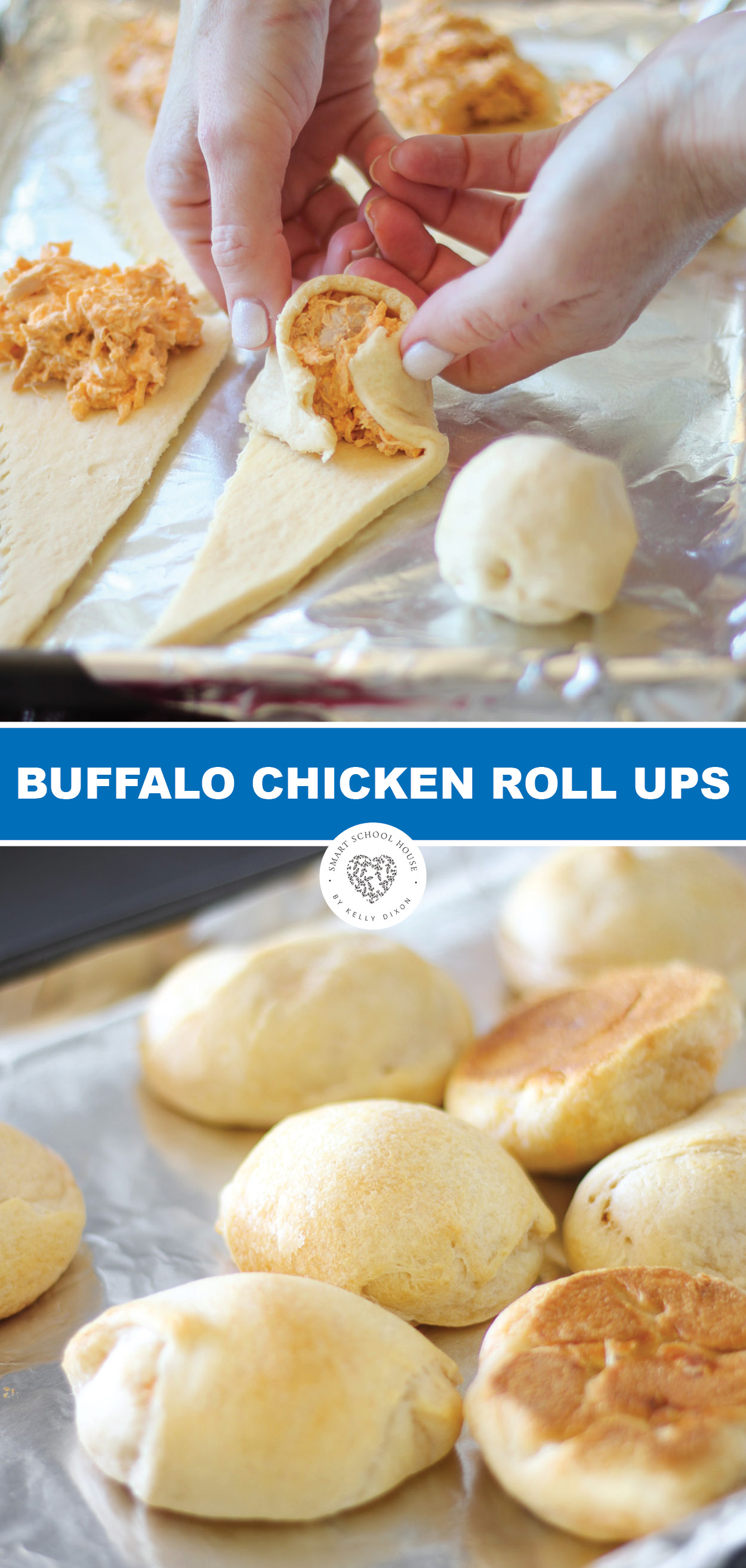 Try these delicious Buffalo chicken roll up appetizer with a crescent twist! These could be the ultimate appetizer for game day or your next party! #buffalochicken #appetizer #superbowl #buffalochickenrecipe #chicken #crescentrolls #smartschoolhouse