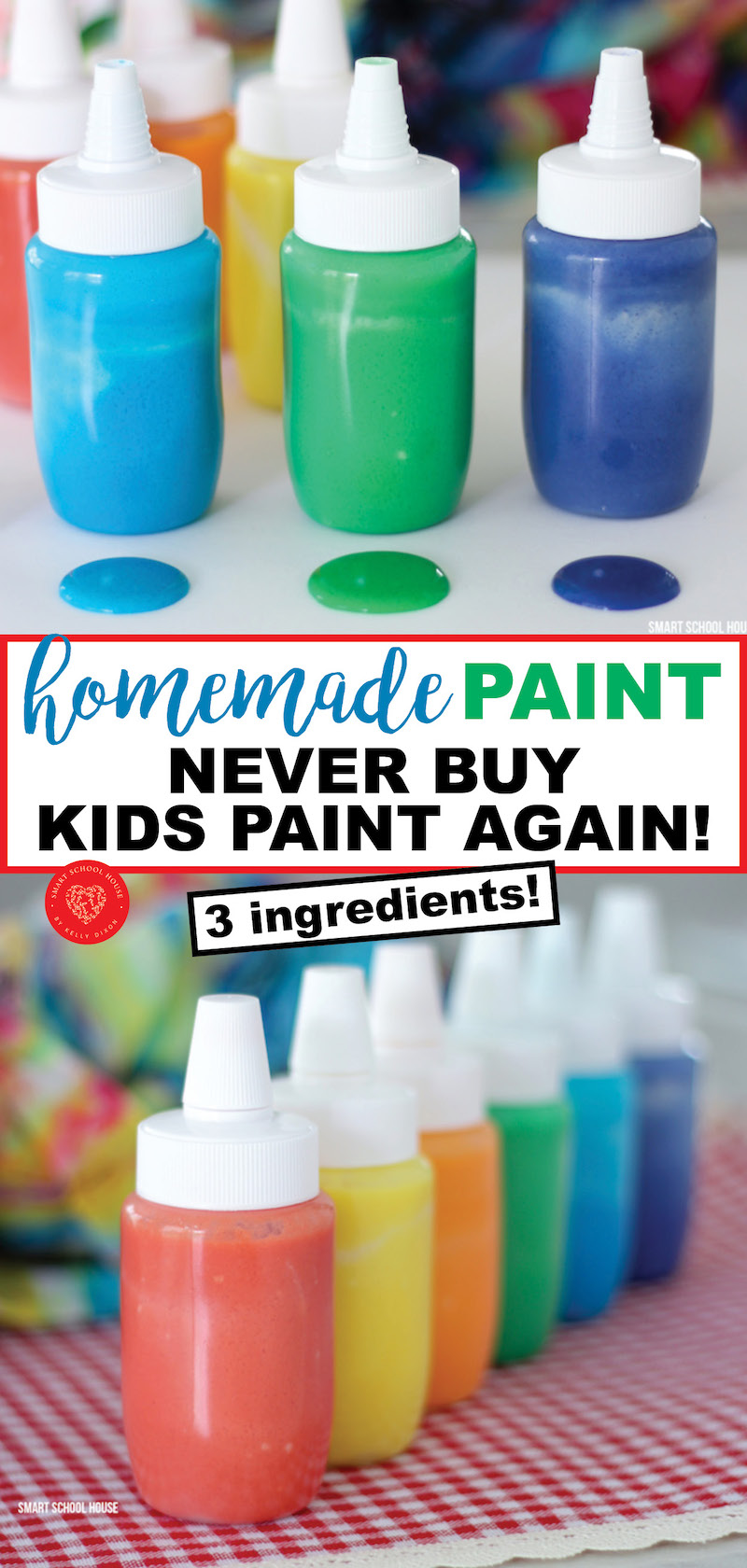 3 ingredient homemade paint. Never buy kids paint again!