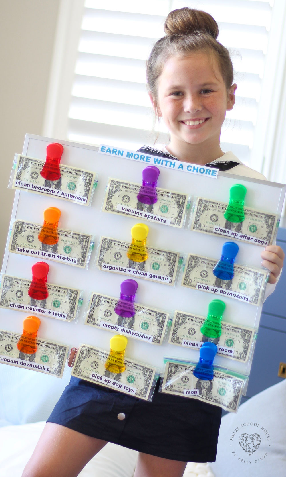 Earn More with a Chore! An EASY money based chore chart system to motivate kids to do age appropriate chores #chorechart