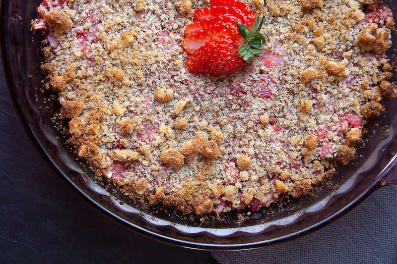 Keto Strawberry Rhubarb Crumble. Grain free and no sugar added!