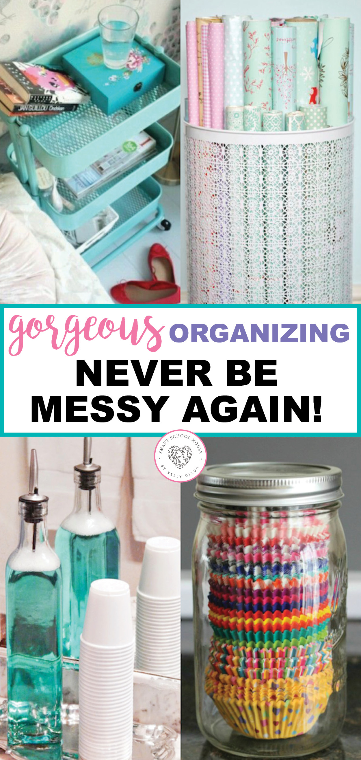 Organizing is essential in our homes, but it doesn't have to be ugly. You will never be messy again if you use these gorgeous organizing tips. Make organizing fun and beautiful with these tips. #organizing #prettyorganizing #bathroom #bedroom #kitchen #organizingtips #smartschoolhouse