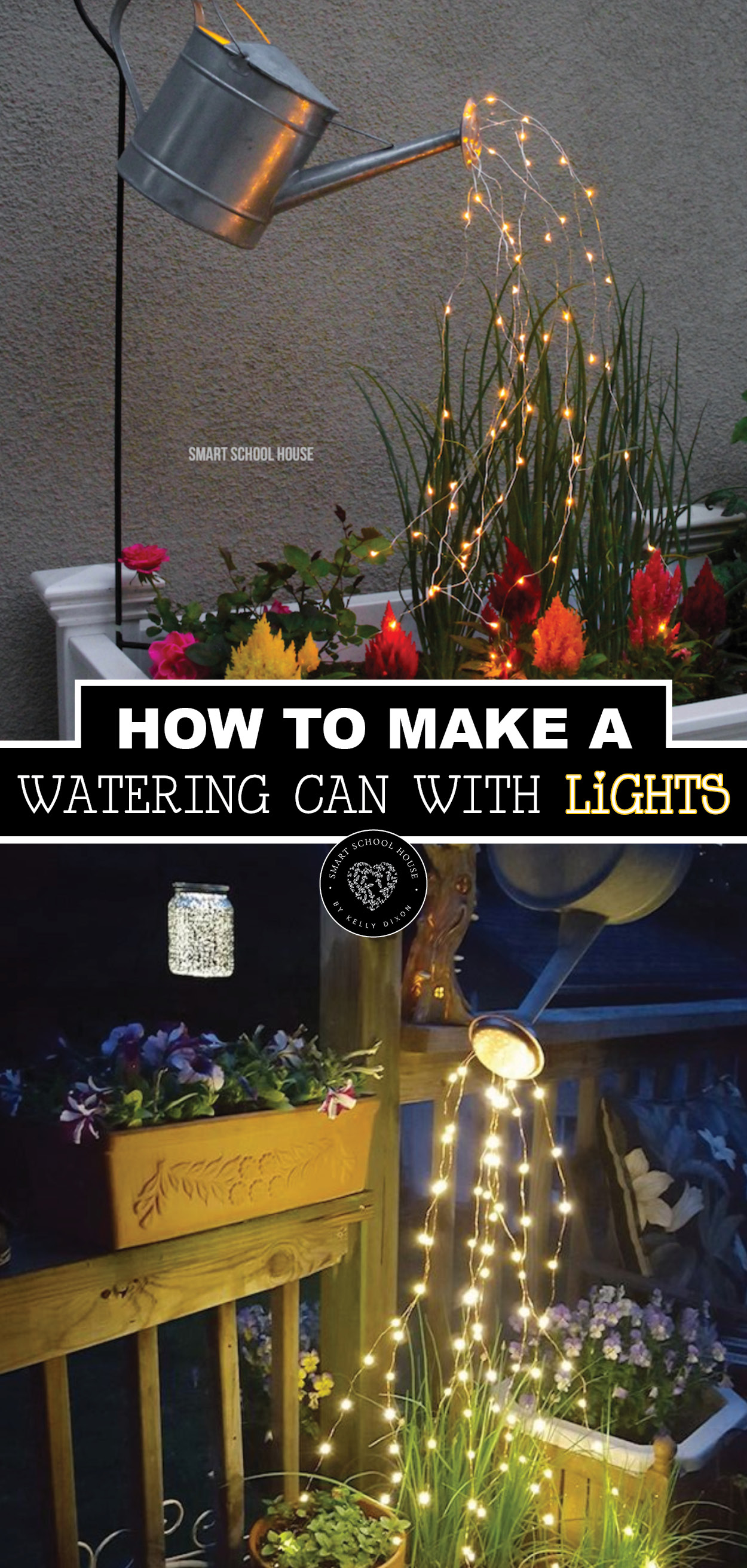 Christmas Lights That Look Like Water Falling.Watering Can With Lights