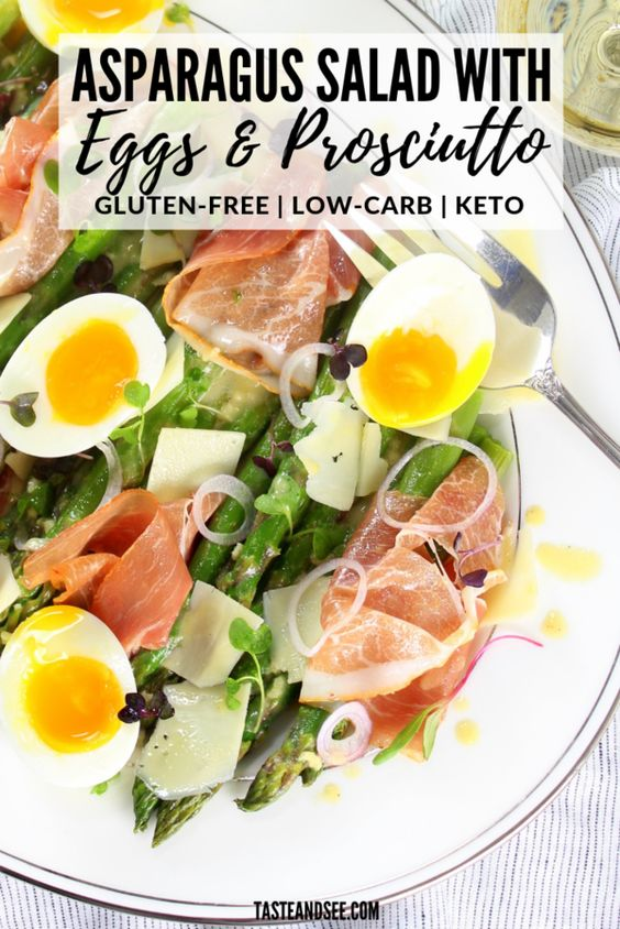 This Asparagus Salad with Eggs and Prosciutto is an amazing healthy salad! With soft-boiled eggs, al dente asparagus, pea shoots, Asiago cheese, prosciutto and a lemon-Dijon Vinaigrette. #SaladRecipes #SpringSaladRecipes #AsparagusSalad #LowCarbRecipes #GlutenFreeRecipes #KetoRecipes #KetoSalad