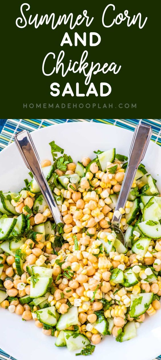 Summer Corn and Chickpea Salad! A chickpea salad with fresh summer corn cut straight off the ear and sliced cucumber that's tossed with olive oil, green onions, lime juice, and cilantro.