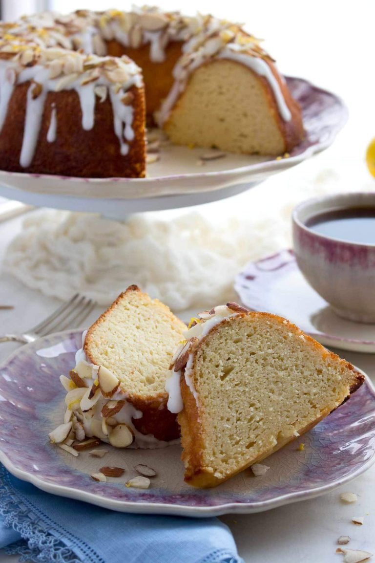 A low carb bundt cake (pound cake) made with almond flour, coconut flour, and cream cheese that's topped with a luscious sugar-free lemon glaze and almonds.           Bundt Cakes have enjoyed a surge in popularity the last several years. And why not? They are easy to make and their wreath- like shape is very pleasing. A pretty little slice of bundt cake is just as happy to be served at tea as it is fancied-up for dessert. And bundt cakes often get ooh's and ahh's when they're proudly displayed a