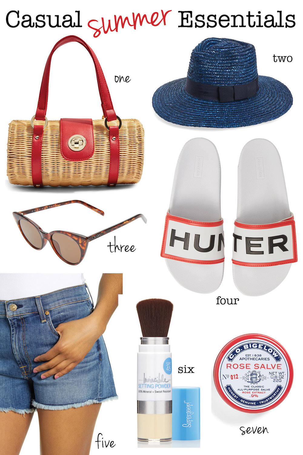 Casual Summer Essentials for less than $60! Hunter slides, high rise jean shorts, SPF setting powder, and more.