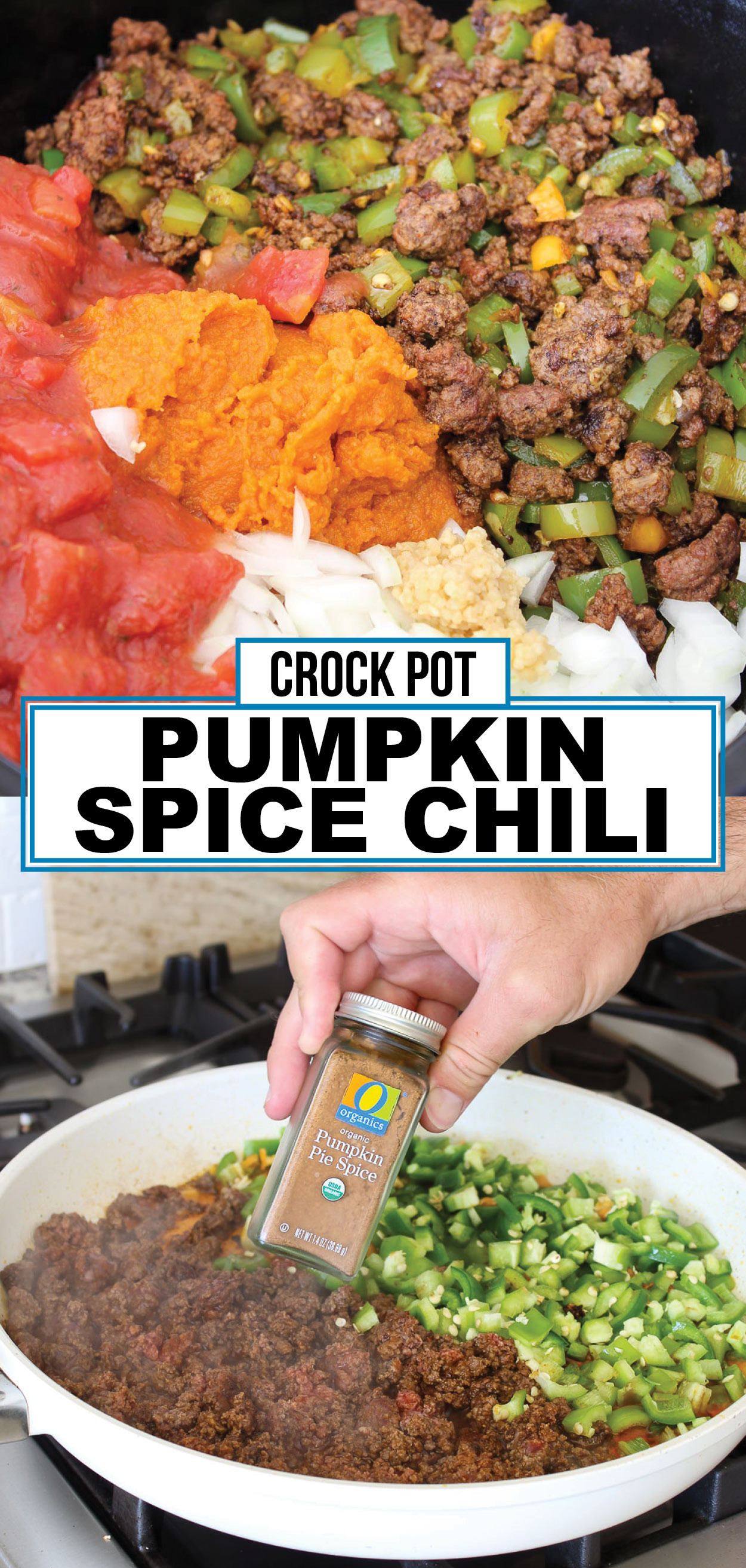 Crock Pot Pumpkin Spice Chili: You've got to taste it to believe it! It actually tastes like pumpkin spice mixed within a spicy and savory chili. Made with pumpkin purée in a slow cooker.