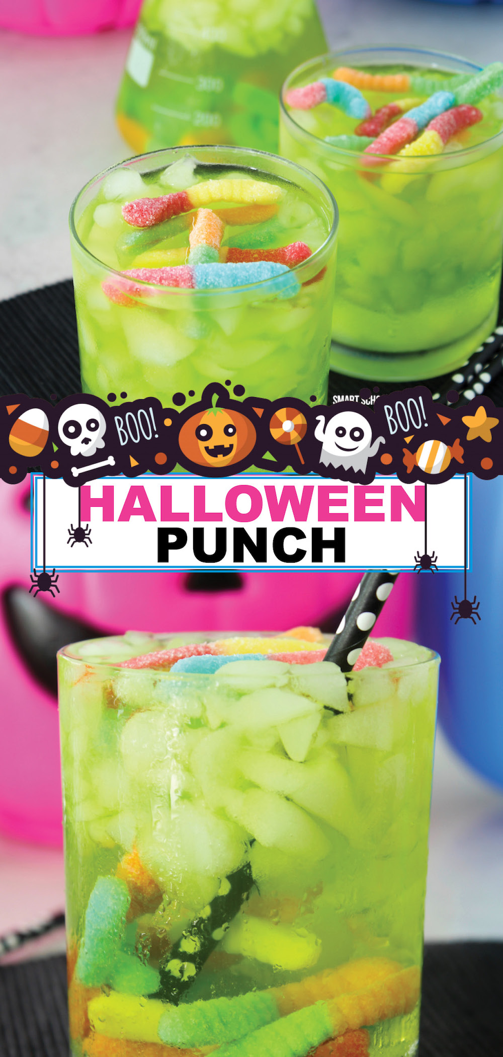 Here is our 3 ingredient Halloween worm punch! Bubbly, sweet, fun, and simple to make in a hurry. We love coming up with creative food ideas for the holidays.