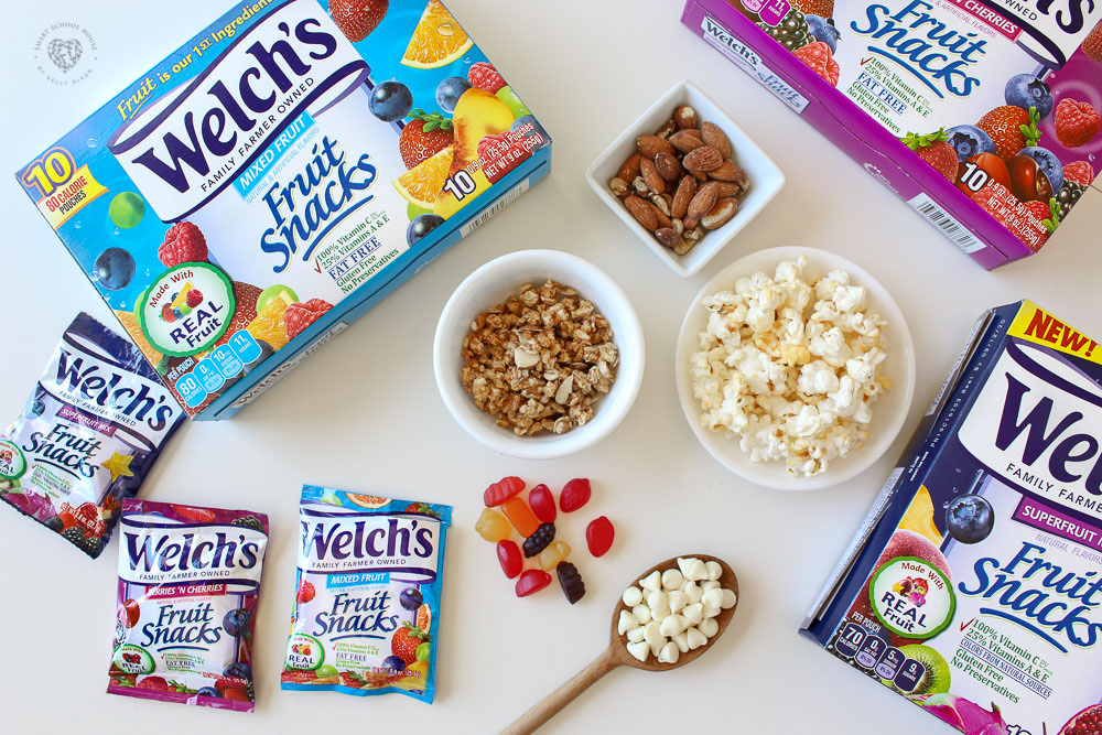 Welch's Fruit Snacks with popcorn, granola, nuts, and white chocolate chips