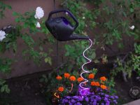 Black Halloween Watering Can with Cascading Purple Lights