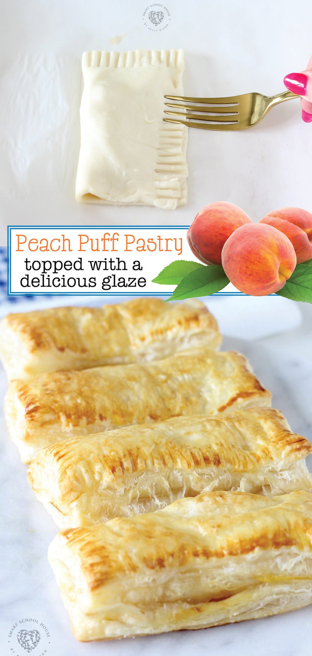 Our Peach Puff Pastry recipe with an irresistible homemade glaze is delicious and so quick & easy to make! It's made using peaches and puff pastry sheets.