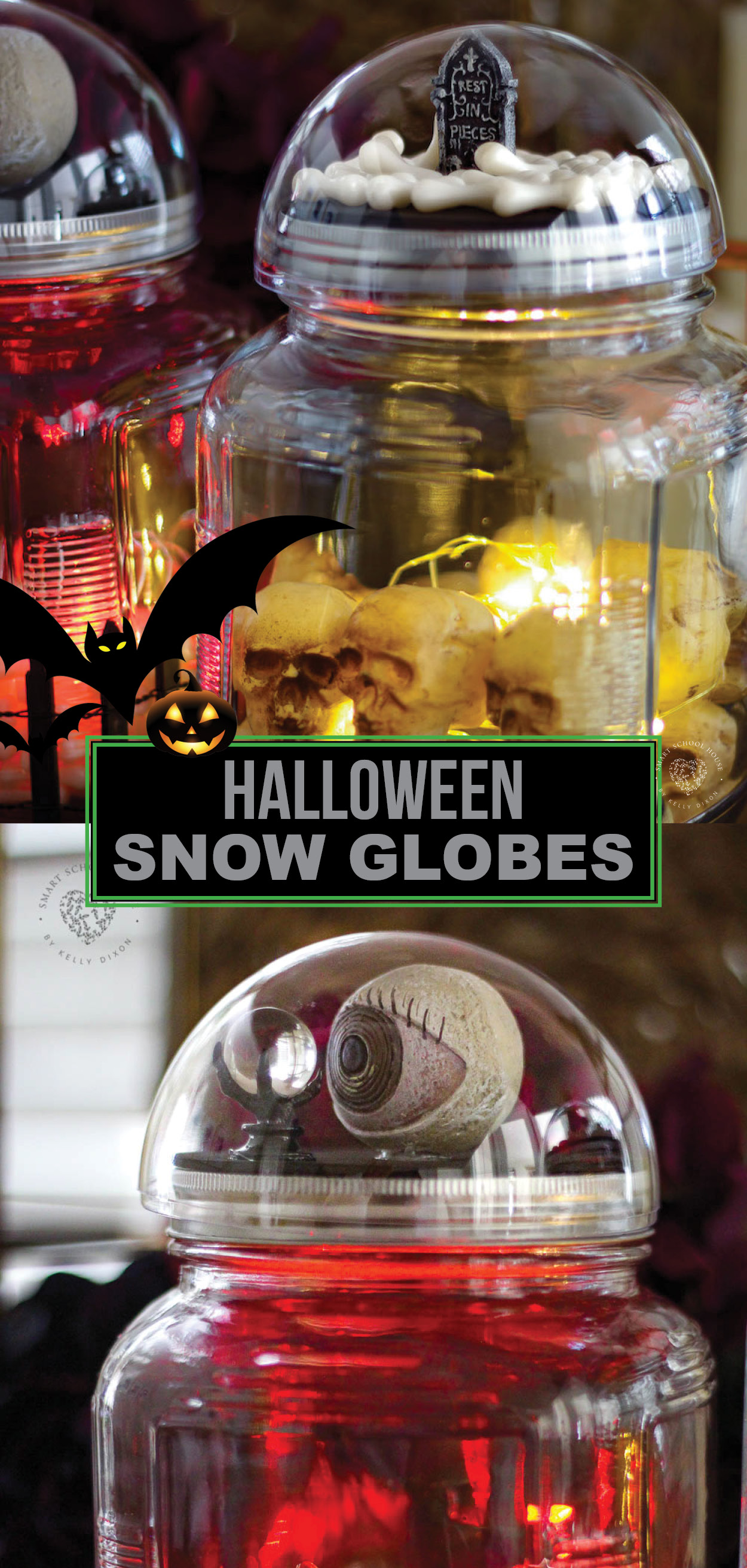 How To Make Spooky Halloween Slow Globes On Top Of Glowing Jars